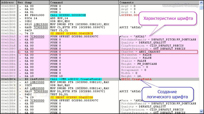 Анализ параметров функции CreateFont