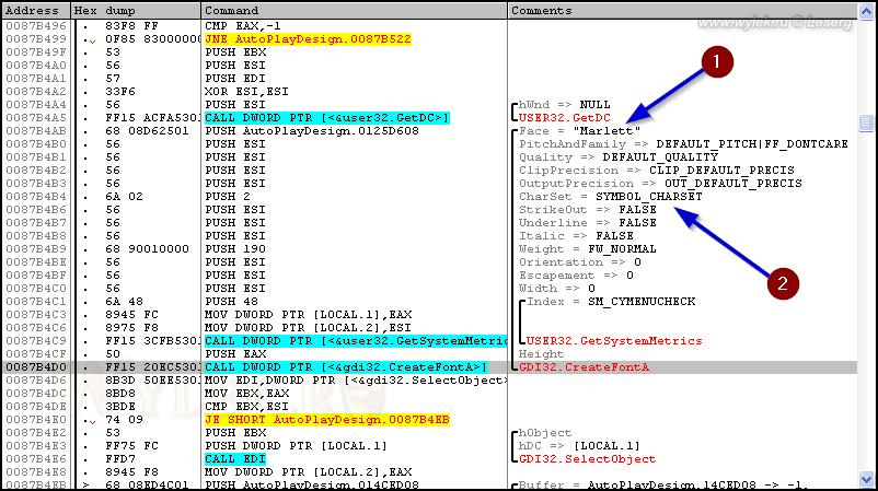 Пример параметров логического шрифта