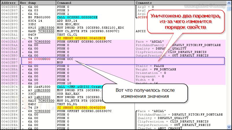 Пример затирания инструкций кода