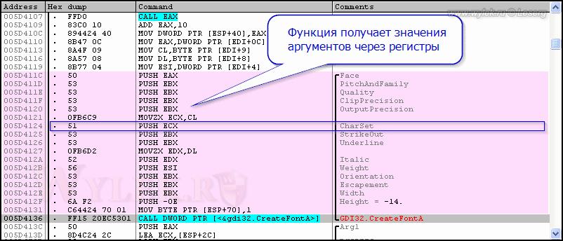 Пример формирования характеристик шрифта
