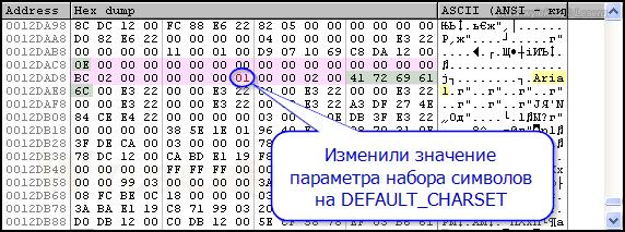Дамп памяти: Изменили значение набора символов