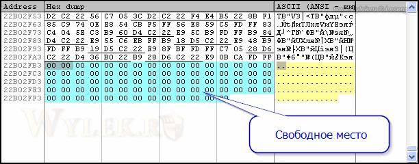 Дамп памяти: Свободное место в конце секции кода