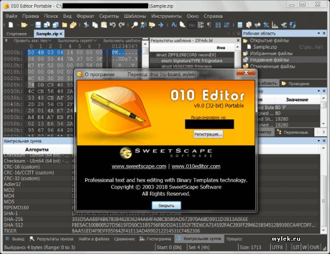 Русифицированные основные файлы SweetScape 010 Editor 9.0